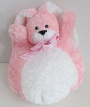 Plush Russ Pink White Bunny Rabbit round ball stuffed animal gingham bow... - $17.81