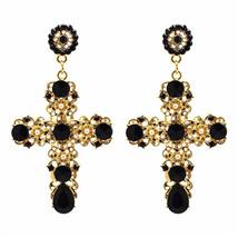 JURAN Women Fashion Vintage Crystal Gold Cross Earring Sweet Metal With Gems Dan - $17.31