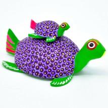 Handmade Alebrijes Oaxacan Wood Carving Folk Art Mom & Baby Sea Turtle Figure image 1