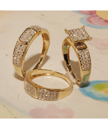 His Her Wedding Diamond Ring Trio Set 14k Yellow Gold Finish 925 Sterlin... - £91.87 GBP