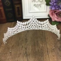 Paved Cubic Zircon Tiara Zirconia Crown Wedding Hair Accessories Bride C... - £50.14 GBP