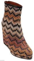 Missoni Platform Boot Wedge Ankle Textile Orange Purple Black Leather Sh... - $242.55