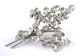 Rhinestone Spray Brooch Pin Figural Bouquet Marquise Rhinestones 1960s W... - $28.00