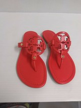 Tory Burch Woman's Slippers Miller Veg Nappa Poppy Coral Size 7 US - $193.00