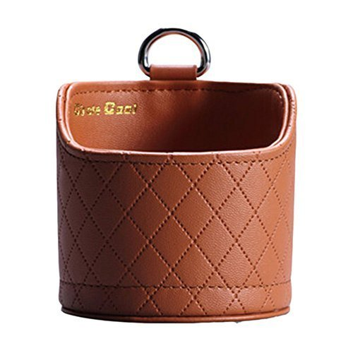 Fashion Brown PU Leather Round Car Cup Holder,Auto Storage Bucket,3.53.3''
