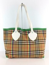 BURBERRY Tote Bag Camel Color Check Pattern Square Thread Yes Used - $1,047.41