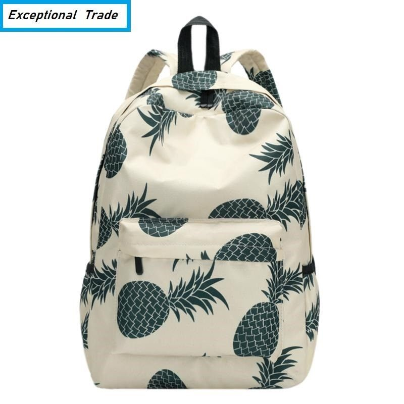 Teenager Backpack Pineapple Printing School Bag For Girls Casual Travel Rucksack