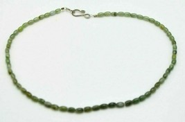 Green Faux Jade Glass Bead Beaded Choker Necklace Silver Tone Vintage - $13.86