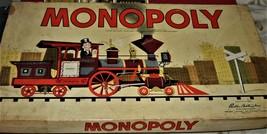 MONOPOLY GAME: Original Box, Game Board, Cards, Money VINTAGE 1957 image 1