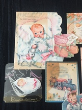 Set of 9 Vintage 40s illustrated Birth/Baby card art (Set A) image 2