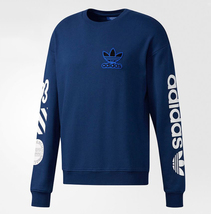 New Adidas Originals Mens Crew Sweatshirt NY Blue logo Sweater hoodie BQ0898  - $99.99