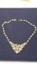 1952 TRIFARI GoldTone Clear Rhinestone White Rhinestones V Shape Necklace - $100.00