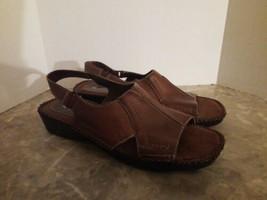 Naturalizer Sz 7 N Narrow Brown Slingback Sandals Flats Genuine Leather - $19.79