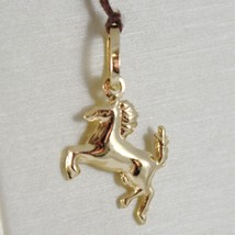 18K YELLOW GOLD ROUNDED HORSE PENDANT CHARM 22 MM SMOOTH BRIGHT MADE IN ITALY image 1