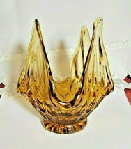 "Vintage Thumbprint Amber Spiked Handkerchief Glass Compote Candy Dish 5"" Tall"
