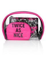 Victoria's Secret Pink Angels Lace TWICE AS NICE Bling Cosmetic Bag Trio Large - $27.72