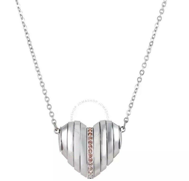 Swarovski Crystal Authentic Pendant Necklace Heart EXPLORE Signed Reversible image 3