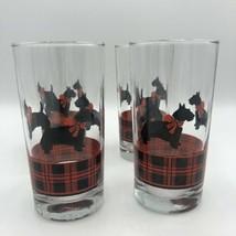 """Vintage Terrier Scottish Scotty Glass Red Black Striped 6"""" Drinking Barw... - $48.00"""