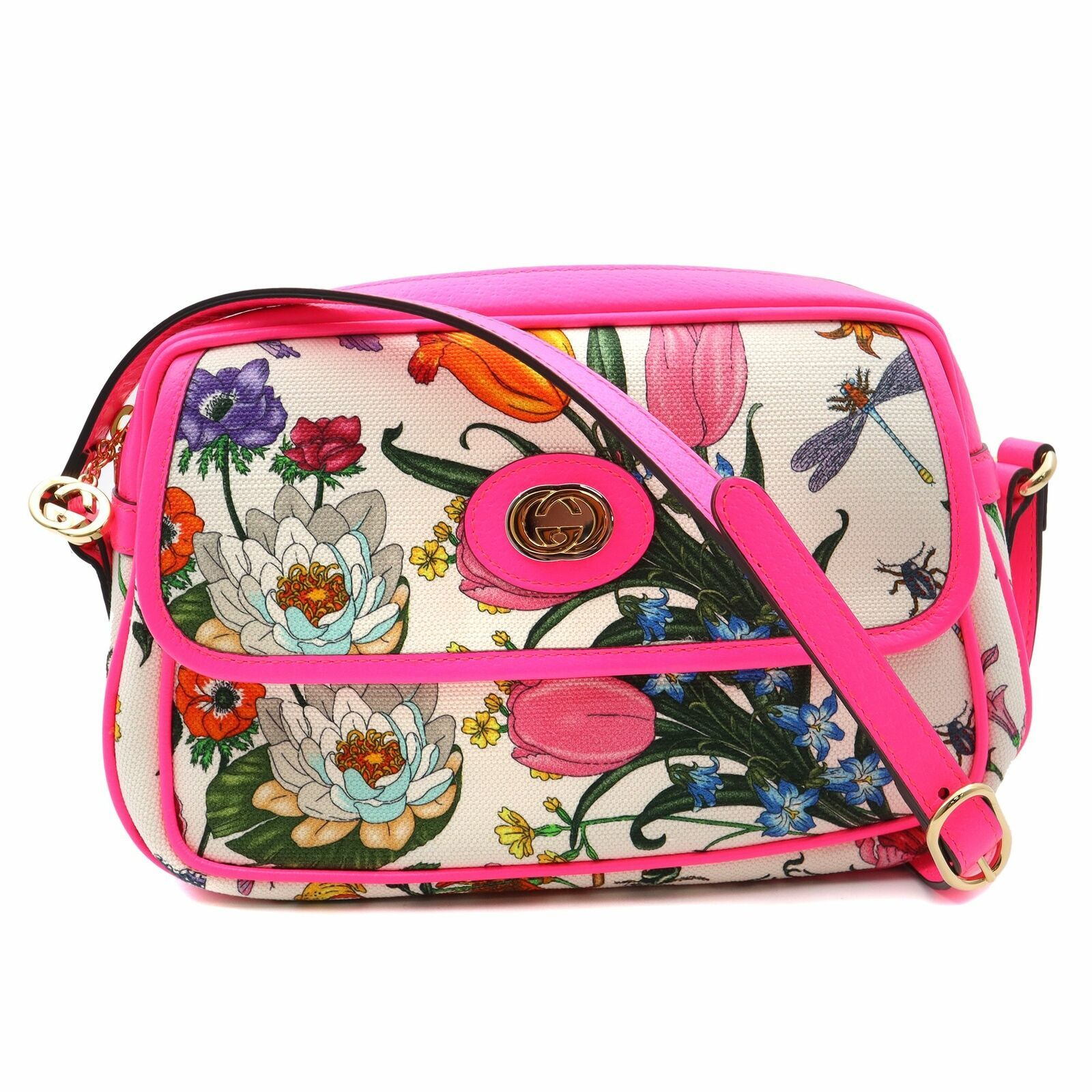 Primary image for Gucci Canvas Flora Floral White Fuchsia Fluo Small Cross-body Bag