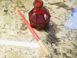 Red Glass Octagon Wheaton, NJ Ink Well/Bottle W/Raised Lettering + INK PEN - $15.00