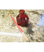 Red Glass Octagon Wheaton, NJ Ink Well/Bottle W/Raised Lettering + INK PEN - $15.00