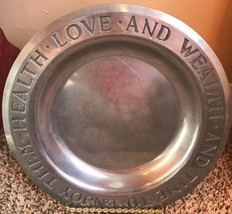 Vintage Wilton Armetale Pewter Plate Health Love And Wealth And Time To ... - $10.99