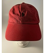 Distressed Polo Ralph Lauren Hat Cap Red Orange Faded Pony Leather Strap - $13.81