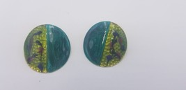 Vintage 1980s Round Green & Blue Enamel Painted Floral Artsy Pierced Ear... - $14.47