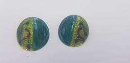 Vintage 1980s Round Green & Blue Enamel Painted Floral Artsy Pierced Ear... - $14.47