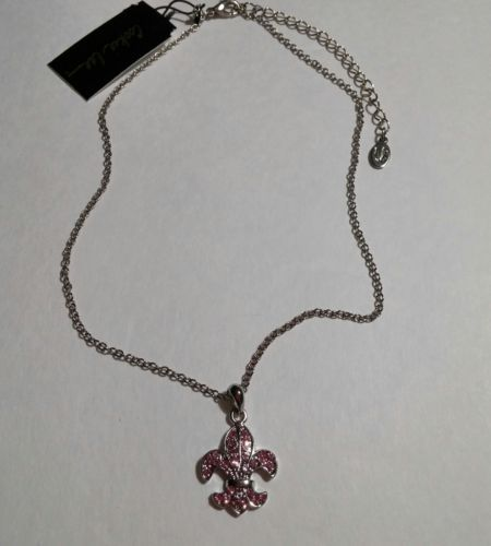 Pink Crystal Fleu De Lis Pendant Necklace Silvertone