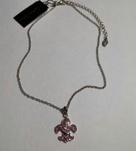 Pink Crystal Fleu De Lis Pendant Necklace Silvertone image 2