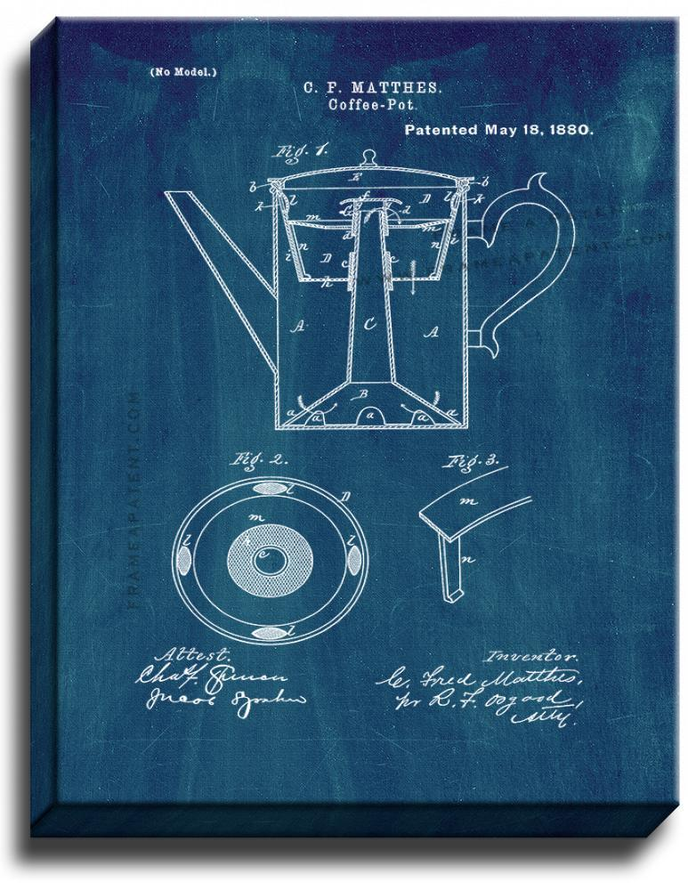 Primary image for Coffee Pot Patent Print Midnight Blue on Canvas