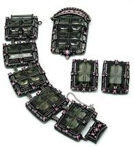 Sarah Coventry Parure Midnight Magic Black Pink Brooch Earrings Bracelet... - $124.95