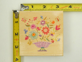 """New 3.25"""" Rubber Stamp All Night Media Flowers & Vase Floral - $4.79"""