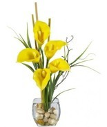 Nearly Natural 1118-YL Calla Lilly Liquid Illusion Silk Flower Arrangement, - £42.38 GBP