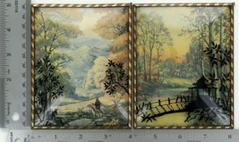"Set of 2 Vintage 4"" X 5"" Convex Glass Silhouettes Fall Scenes Gazebo Bridge 013"