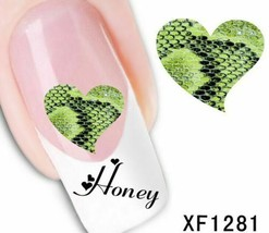 Nail Art Water Transfer Sticker Decal Stickers Pretty Skin Green XF1281 - $2.89