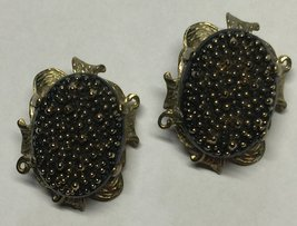 VTG 60s Signed JUDY LEE Black Large Fancy Ovals w/Gold Metallic Clip Ear... - $14.18