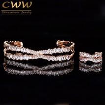 CWWZircons Adjustable Size Rose Gold Color Bracelet Bangle Ring Set Trapezoid CZ - $23.53