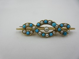 Victorian 15ct Gold Turquoise Pearl Pin Brooch English 15k Yellow Gold A... - $346.50