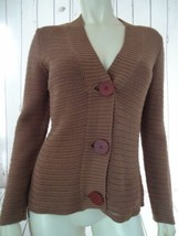 TALBOTS PETITES Sweater S See-Thru Crochet Lt Caramel Brown Cotton Acryl... - $46.73