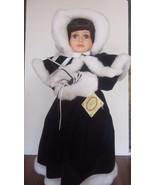 """Fine porcelain 21"""" treasure collection doll brown hair blue velvet dress... - $39.60"""