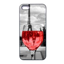 Coloful wine with Paris Iphone 5/5s case Customized Premium plastic whit... - $11.87