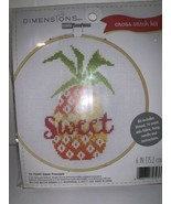 "NIP Dimensions Sweet Pineapple Cross Stitch Kit  #72-75343 6"" Hoop Included - $9.49"