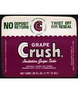 Vintage soda pop bottle label GRAPE CRUSH SODA 28oz unused new old stock... - $8.99