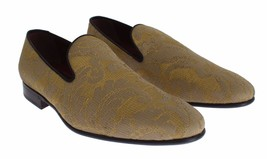 Men Dolce 5 Baroque 775 Shoes Loafers Gold Yellow New amp; Gabbana 9 Silk US Size FIaZwS5q