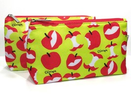 2pc Clinique Cosmetic Makeup Bags (Red Apple Pattern) Red, Green, White  - $7.98