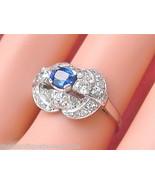 VINTAGE RETRO 1ctw DIAMOND .60ct OVAL SAPPHIRE PLATINUM COCKTAIL RING 1940 - £1,362.06 GBP