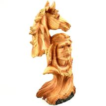 Faux Wood Western Native American Indian with Horse Bust Resin Figurine image 5