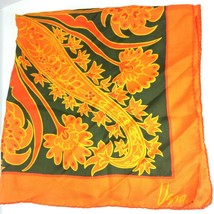 "Vtg Vera Neumann Silk Scarf Signed Orange Green Yellow 26"" Square Rolled... - $39.55"